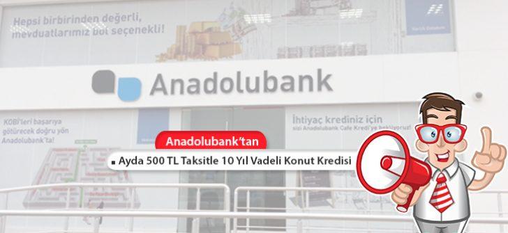 Ayda 500 TL Taksitle 10 Yıl Vadeli Konut Kredisi Anadolubank'tan!
